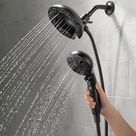 Delta Faucet 5-Spray H2Okinetic In2ition 2-in-1 Dual Hand Held Shower Head with Hose and Magnetic Docking, Matte Black 58480-BL-PK - - Amazon.com