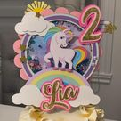 Unicorn shaker with lights cake topper any theme available..