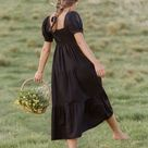 Aylah Midi Dress Plain Black -Final Sale - XXXL / PLAIN BLACK