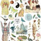 Divine Feminine Printable Scrapbook Paper, Junk Journal, Grimoire, Pagan Images Digital Collage Shee