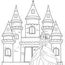 Kostenlose Malvorlage Prinzessin: Prinzessin vor ihrem Schloss zum Ausmalen zum Ausmalen