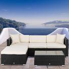 Latitude Run® Ns Direct Outdoor Patio Wicker Sectional Sofa Set (5 Pieces, Creamy White) Wicker/Rattan in Black/White | Wayfair