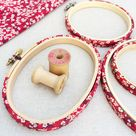Red 'Mitsi D' Liberty Fabric Tana Lawn covered Embroidery Hoops - 7 inch with Back / without glue