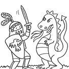 Ausmalbild Ritter und Drachen: Ritter und Drache kämpfen kostenlos ausdrucken