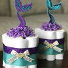 Mermaid Diaper Cake Set, Baby Shower Decor Centerpiece Present, Purple Teal Gold Under the Sea Little Mermaid Seashell Girl, Set of 3 mini