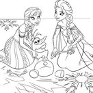 Elsa And Anna Help Olaf To Recover Coloring Pages Printable