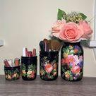 Vintage Flower on Black Mason Jar Desk Set, Decoupage Jar, Office Desk Organizer,Desk Office Decor, Office Desk Accessories, Office Supplies