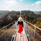 The Geierlay Bridge in Germany is the best weekend Europe trip. One of the longest suspended bridges in Europe. And a wonderful view! This is a MUST SEE when you're in Germany, as one of your camping activities.  #Germany #daytrip #bridge #Geierlaybridge #solotravel