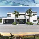 Luxuriöses Einfamilienhaus modern mit Flachdach, Garage & Pool bauen, Haus Design Ideen innen aussen