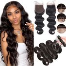 Bundles with Closure Body Wave Brazilian Virgin Human Hair Weave Bundles 3+1 24 26 28+20 Inch