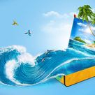 Tropical background from suitcase. Traveling, vacation, Water splash