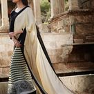 Indian beige off white satin jacquard and georgette lovely casual saree