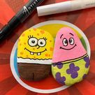SpongeBob rock painting idea. Easy step by step tutorial for kids and adults