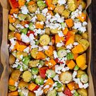 Ofenkartoffeln mit Kürbis, Rosenkohl und Feta (nur ein Blech!)