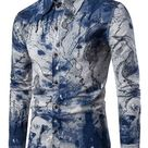 Men's Shirt Color Block Long Sleeve Shirt Collar Casual - Blue / XL