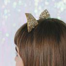 Gold Glitter Cat Ears Headband, Halloween Glitter Cat Ears Headband, Gold Glitter Kitty Headband, Party Cat Ears Headband