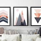 Set of 3, Printable, Downloadable Print Set, Scandinavian Prints, Mountains, Geometric, Wall Art, Bedroom Decor,  Poster, Copper, Pink, Navy