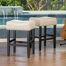 Best Selling Lennox Backless Ivory Leather Counter Stool, White, Set of 2