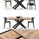 Ausziehbarer Tisch mit X-Beine Emma