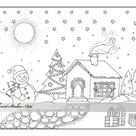 Christmas coloring page Snowman coloring starry night xmas | Etsy