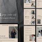 4 page Media Kit template for influencers| Rate sheet template | Canva template in neutral, minimalist style | Instagram Press template |
