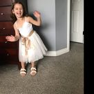 White Tulle Flower Girl Dress, Sequin Wedding Gown, Boho Beach Girls Summer Dresses
