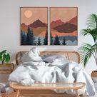 Terracotta Sun Mountain Wall Art Print Set of 2 Mid | Etsy