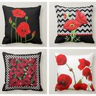 Red Poppy Pillow Cover|Red Floral Cushion Case|Decorative Throw Pillow Top|Boho Bedding Home Decor|Rustic Housewarming Farmhouse Pillow Case