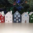 5th Anniversary Gift for Women - Set of Five Little  Wooden Houses, Wood Cottage Sculpture, Housewarming New Home Gift, Driftwood house