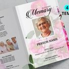 Pink Flower | Funeral Program Template, Obituary Program, Memorial Program Template, Microsoft Word and Publisher Template