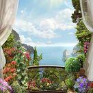 Beautiful Scenery Blue Sea Outside the Window Backdrop G-621