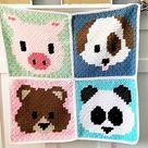Corner to Corner c2c Crochet PATTERN Panda Bear Face Emoji | Etsy