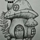 pen art   mushroom house   pen drawing