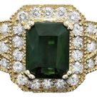 4.00 Carats Natural Tourmaline and Diamond 14k Solid Yellow Gold Ring - White Gold / 10