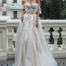 Boho A Line Off The Shoulder Wedding Dress   Bohemian Vintage Floral Bridal Gown