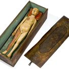 Wooden anatomical figure with painted wooden box, Germany, 1650-1750