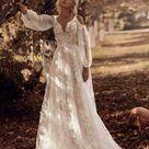 3d lace flower butterflies boho wedding dress long sleeve modern ivory blush wedding gown bride lace tulle bohemian unique train light sexy