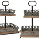Antiqued 2 Tier Display Tray