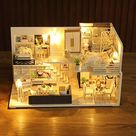 Doll House Furniture Wood Toys DIY Dollhouse Miniature Dollhouse Assemble 3D Miniaturas Puzzle Toys for Children Girl Gift