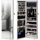 YOKUKINA Jewellery Cabinet Full Length Mirror Wall Mounted Jewelry Organizer with LED Light - white
