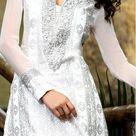 Off White Faux Georgette A-line Churidar Kameez With Dupatta