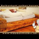 Bett selber bauen aus alten Balken Balkenbett selber machen