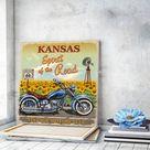 Motorbike Canvas Wall Art Kansas Landscape Canvas Art Cactus Wall Art Retro Poster Vintage