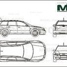 Audi RS4 2000   2D drawing blueprints   25520   Model COPY   English