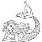 Beautiful mermaid Barbie coloring pages