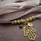 Women's Hamsa, Lotus, & Smoky Quartz Silk Wrap Bracelet or Necklace // Jewelry, Women's Jewelry, Silk Jewelry, Stocking Stuffers