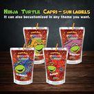 Ninja turtle Capri sun label  wrapper turtle Caprisun juice label juice pouch ninja turtle party favors party turtle decorations birthday