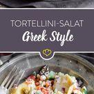 Tortellini Salat italienisch griechischer Art mit Feta und Oliven