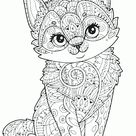 Adult Coloring Animal Pages. Cute Cat
