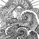 5 Pages,Mermaids, Orca's & Ocean Pack 1 , 5 Adult Coloring Book Pages, Printable Instant Download